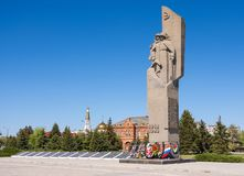 Volzhsky 伏尔加格勒地区 俄罗斯2017年5月6日 对南北战争和伟大的爱国Wa的英雄的纪念复杂纪念碑 免版税库存照片