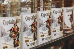 Volzhsky, Russia - apr 26, 2019: Products of hypermarket sale of alcoholic captain Morgan rum sale of alcoholic royalty free stock photo