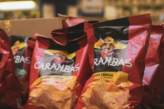 Volzhsky, Russia - apr 26, 2019: Products of hypermarket sale carambas chips in the metro store cash and carry stock photography
