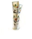 Vom Glas hat Stockbanknoten ein Bankkonto Stockfoto