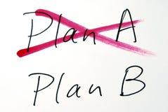 Vom Plan A, zum von B zu planen Stockfoto