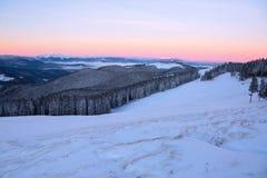 Vom Rasen bedeckt mit Schnee, ein Panoramablick von bedeckt mit Frostbäumen, Nebel, hohe, steile Berge, Lizenzfreies Stockbild