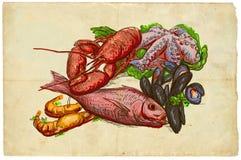 Vom Reihenlebensmittel: Meeresfrüchte Lizenzfreies Stockbild