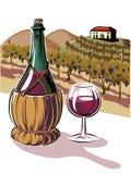 Vom Rotwein und von einer Glasflasche vektor abbildung