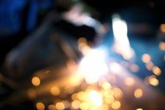 Vom Schweißverfahren in Bewegung 3 blurly funken Stockfotos