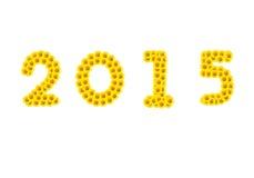 2015 vom Sonnenblumenalphabet lokalisiert auf Weiß Stockfotografie