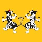 Vombato, dancing tatuato con i maracas illustrazione vettoriale