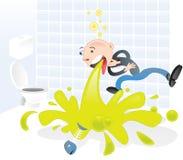 Vomissement de projectile de personnage de dessin animé Image stock