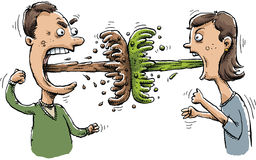Vomit Battle. A man and woman battle one another with blasts of vomit vector illustration