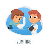 Vomiting medical concept. Vector illustration. Doctor and patient are talking in the hospital. Isolated on white background Royalty Free Stock Images