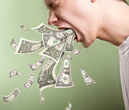 Vomiting by money Royalty Free Stock Photography