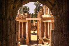 Vomitory do teatro romano de Merida fotografia de stock