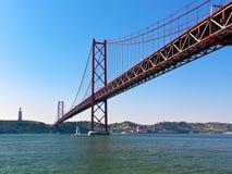 25. von April Bridge bei Lissabon Lizenzfreie Stockfotos