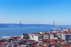 25. von April Bridge im Lissabon Lizenzfreies Stockfoto