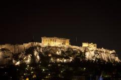 Von Athen Akropolis nachts--Zwei Stockfotografie