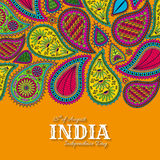 15. von August India Independence Day Grußkarte mit Paisley-Verzierung Stockbilder