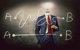 Von A bis beste Lösung B - Konzept mit Geschäftsmann stockfotos