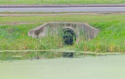 Von dem das Rohr der Fluss des Abwassers in den See, es verunreinigend Lizenzfreies Stockbild