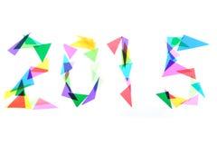 2015 von den Farbplastikdreiecken Lizenzfreie Stockbilder