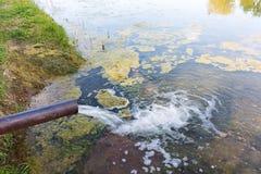 Von den Rohrwasserströmen in den Fluss, Meer Klima-Pol Lizenzfreie Stockbilder