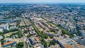 Von der Luft Draufsicht von Montpellier-Stadtskylinen von oben, Süd-Frankreich stockfotos