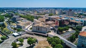 Von der Luft Draufsicht von Montpellier-Stadtskylinen von oben, Süd-Frankreich stockbilder