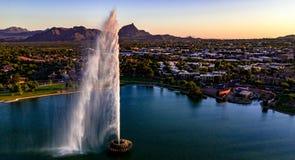 Von der Luft, Panoramablick über Brunnen-Hügeln Arizona lizenzfreies stockbild