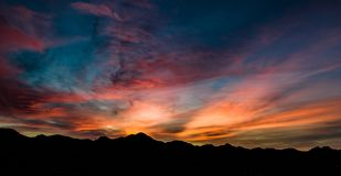 Von der Luft, panoramisch, Sonnenuntergang-Ansicht über Tubac Arizona stockfoto