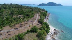 Von der Luftdraufsicht der Seeküstenlinie und -insel mit Palmen stockfoto