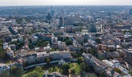 Von der Luftdraufsicht von Kiew-Stadtskylinen von oben, im Stadtzentrum gelegenes Stadtbild Kyiv-Mitte, Ukraine Lizenzfreie Stockfotos