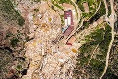 Von der Luftdraufsicht der Landschaft der Salzterrassen von Maras Salineras de Maras stockbild