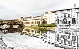 Von der Skizze zur Florenz-Stadt - schönes Ponte Vecchio, Vasa Lizenzfreies Stockfoto