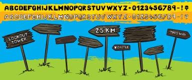 von der touristischen hölzernen Pfeilzeichenillustration Stockbilder