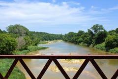 Von einer Brücke auf dem Brazos Stockbild