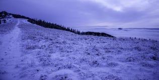 Von einfrierender Landschaft nach Sonnenuntergang sie gepfefferter Ehrenschnee Stockfotos