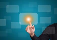 Von Hand eindrücken auf Touch Screen Schnittstelle Lizenzfreies Stockbild