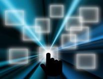 Von Hand eindrücken des Touch Screen Knopfhintergrundes Lizenzfreie Abbildung