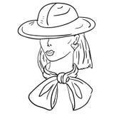 Von Hand gezeichnet Art und Weisebaumuster. Gesicht der Frau Lizenzfreie Stockfotos