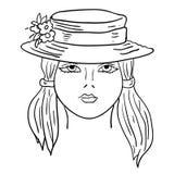 Von Hand gezeichnet Art und Weisebaumuster. Gesicht der Frau Lizenzfreies Stockbild