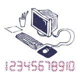 Von Hand gezeichnet Computer. Stockfoto
