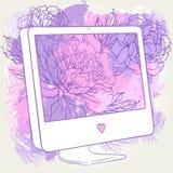 Von Hand gezeichnet Computer-Bildschirmanzeige stock abbildung