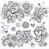 Von Hand gezeichnet flüchtige Blume und Stars Gekritzel lizenzfreie abbildung