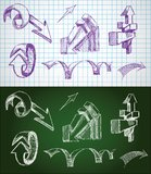 Von Hand gezeichnet flüchtige Pfeile Stockfotografie