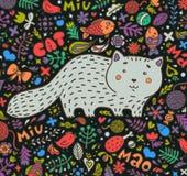 Von Hand gezeichnet Gesicht der illustration Eine fette graue Katze umgeben von den Blumen, von den Fischen, von den Spielwaren u Lizenzfreie Stockfotografie