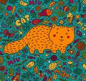 Von Hand gezeichnet Gesicht der illustration Eine fette rote Katze umgeben von den Blumen, von den Fischen, von den Spielwaren un Stockbild