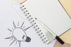 Von Hand gezeichnet Glühlampe Stockfotografie