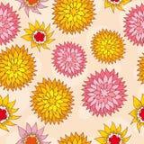 Von Hand gezeichnet mit Blumennahtloses Lizenzfreie Stockfotografie