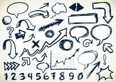 Von Hand gezeichnet Set Gekritzel Stockfotos