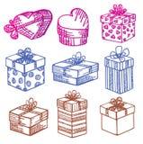 Von Hand gezeichnet. Set Geschenkkästen. Gekritzel. Stockbilder