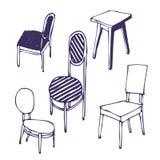 Von Hand gezeichnet Stühle. Getrennt Lizenzfreie Stockfotos